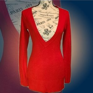 Lola Red Light Weight Long Sleeve V-neck Sweater